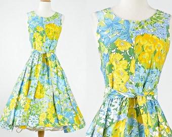1950s Wrap Dress, 50s Dress, Floral Dress, 1950s Sundress, Garden Party Dress, 50s Day Dress