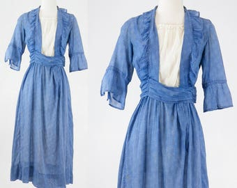 1910s Blue Calico Dress, Edwardian Dress, Antique Work Dress, Primitive Fabric
