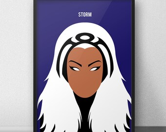 Storm XMen Poster, Storm Wall Print, Storm, Ororo Munroe, XMen Minimalism, Wolverine, XMen Wall Art, XMen Print, Storm Art, Storm Marvel