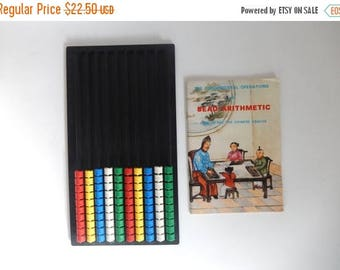 Vintage 1960's Bead Arithmetic Chinese Abacus with 52 Page Instruction Book - Made in England by INVICTA