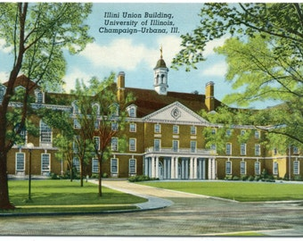 Illini Union Building University Illinois Champaign Urbana IL linen postcard