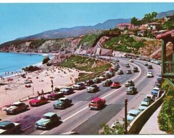 US Highway 101 Looking North Santa Monica California 1950s postcard