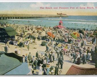 Beach Scene Pleasure Pier Long Beach California 1910c postcard