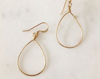 Simple Gold Teardrop Earrings - Handmade - 14K Gold Filled