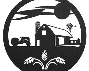 """Hand Made Farm Scene 12"""" Scenic Art Wall Design *NEW*"""