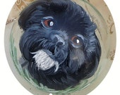 Reserve Listing for Bailey ~ Black Shih Tzu ~ Hand Painted Dog Ornament ~ Shih Tzu Painting