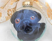 Black Pug Ornament ~ Pug Lover ~ Hand Painted Pug ~ Painted Dog Ornament ~ Pug Ornament ~ Pet Keepsake