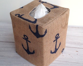 Navy anchors burlap tissue box cover