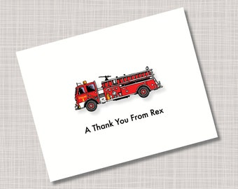 Custom Fire Truck Thank You Note Cards