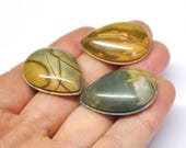 Picasso Jasper Grooved Tear Drop Cabochons Natural Gemstone Macrame Supply Micromacrame - 3 pcs Parcel - 31.0 x 23.0 mm - 170315-07