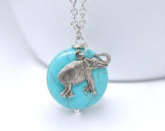 Antique Silver Elephant Necklace, Turquoise Necklace, Blue Necklace, Elephant Pendant Necklace, Modern Tribal Jewelry, Elephant Jewelry