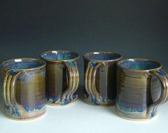 Hand thrown stoneware pottery mugs set of 4  (M-14)