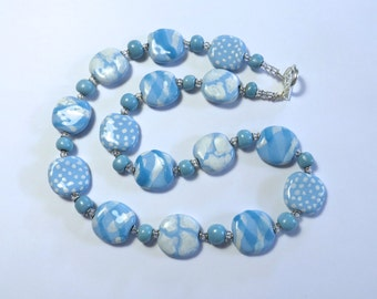 Blue and White Kazuri Bead Necklace, Statement Necklace, Fair Trade, Ceramic Necklace