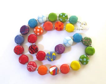 Rainbow Coloured Beaded Necklace, Ceramic Jewelry, Kazuri Bead Necklace