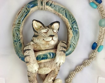 Cat Ring with macrame hanger, Wild Earth Sculpture