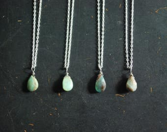 Wire Wrapped Peru Opal Pendant Necklace - FREE Shipping - OOAK
