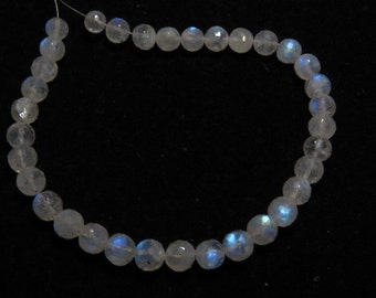 Rainbow Moonstone - AAA - High Quality - So Gorgeous Micro Cut Round Ball Beads Nice Blue Flashy Fire size 5.5 - 6.5 mm 8 inches  - 34 pcs