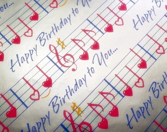 Vintage Silver Hallmark Retro Happy Birthday Wrapping Paper Song Notes Red Hearts Gift Wrap Unisex Unused Made in USA