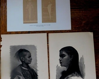 Antique Book Plates art prints illustrations from 1902 Book on Egypt Egyptian History Fifth Tomb of the Kings Thebes