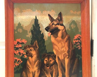 Mid Century German Sheppard with Pups Painting