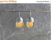 ON SALE SUN Drops. Lemon jade and silver brass small metal earrings.