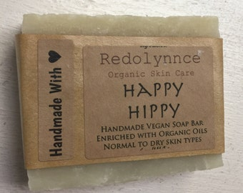 Happy Hippy--Organic Vegan Soap Bar made with Essential Oils. GMO free.