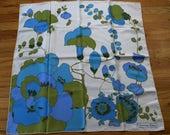 60s CHRISTIAN DIOR bold blue floral print SILK scarf designer vintage 1960s 30 X 30