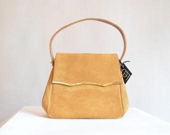 Vintage 1960s suede leather handbag