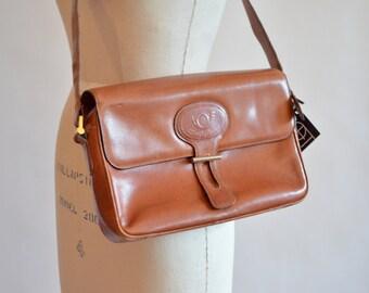 Vintage 1980s FLAVI VISMANO designer leather shoulder bag