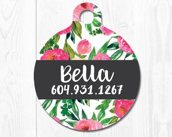 Custom Dog Tag Personalized Pet Tag Dog Tags for Dogs Floral Pet id Tag Dog id Tag Cat Tags Pet Tags Pet Gift Dog Name Tag Dog Collar Tag