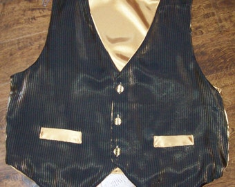 "Adult XL 50"" chest green / gold Christmas Winter vest, fully lined custom made ready to ship NEW"