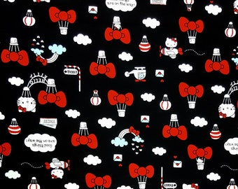 The latest in 2017 Black Hello Kitty face with bow, Airplane, hot air balloon oxford fabric from Japan, width 109cm, unit ordered 100cm KT03