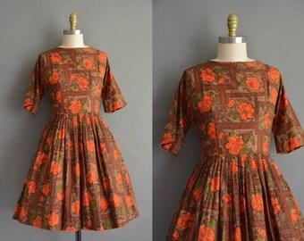 Vibrant orange floral 50s cotton full skirt vintage dress. vintage 1950s dress