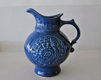 Vintage McCoy Pottery Blue Water Pitcher with Turkey - Marked MCP 19©68 USA