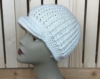 Ready to ship, Ladies Newsboy Hat, Merino Wool, Cream Ladies Hat, SuperWash Merino Wool, Super Soft Thick Winter Hat, Womans Wool Hat, OOAK