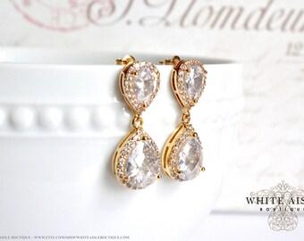 Gold Bridal Earrings Wedding Jewelry Bridal Earrings Faceted Cubic Zirconia Tear Drop Crystal Earrings Gold Plated Brass