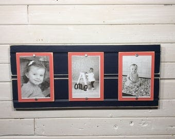 Distressed wood picture frame triple 4x6 navy blue and coral