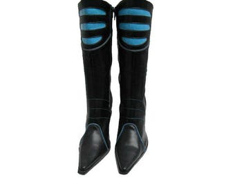 Cyber Goth Boots Vintage Womens Black and Blue Leather Club Kid Boots Made In Spain  Euro Size 40 Fits Wms US Size 9