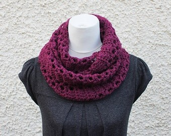 SCARF infinity - cranberry snood, womens knitwear UK, gift for her