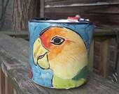 Reserved for PJ Ceramic Parrot Coffee Mug - Pottery Bird Mug - Majolica - Blue Coffee Cup - Carolina Parakeet - 14 ounce oz Coffee Mug -