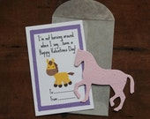 Horse Valentines- SET OF 8 - includes color printed card, seed paper, and glassine envelope- choose from 16 seed paper colors