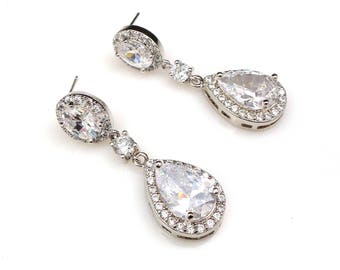 bridal wedding earrings bridesmaid gift christmas party prom pageant Clear white round connector teardrop cz oval rhodium post or clip on