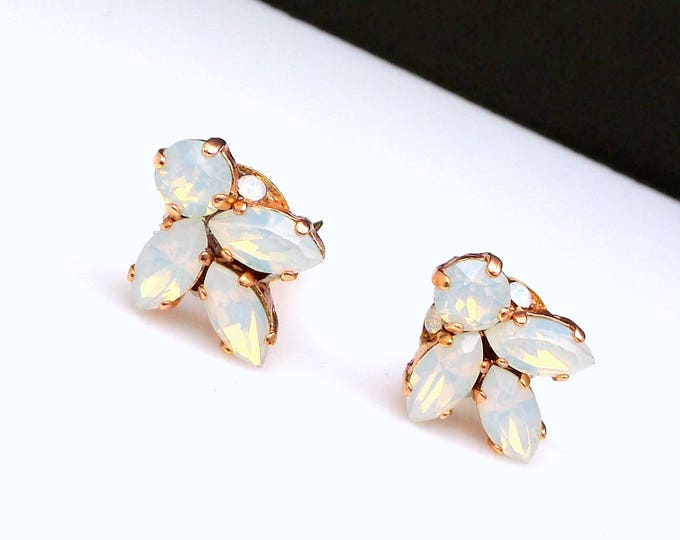 bridesmaid bridal party gift prom jewelry wedding swarovski marquise and round white opal rhinestone crystal rose gold clip on stud earrings