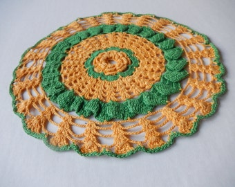 Vintage Doily Green and Yellow Romantic Cottage Chic Kitchen Home Decor