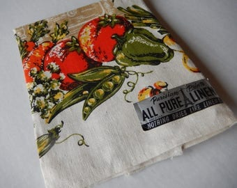 Vegetable Kitchen Towel Vintage Linen Home Decor