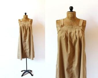 vintage jumper 70's corduroy tan camel dress tent trapeze 1970's women's clothing size m medium