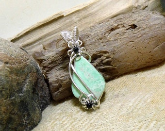 Small Green Utah Veriscite Wire Wrapped Stone Gemstone Necklace Pendant