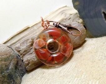 Lake Superior Agate Key Chain, Purse Clip, FOB, Rear View Mirror, Window, Sun Catcher, Copper, Heart 03 Stone in Resin