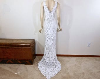 Vintage Inspired BOHEMIAN Wedding Dress Simple Wedding Dress WHITE wedding dress  BEACH Wedding Dress Handmade Lace Maxi Dress Sz S/M
