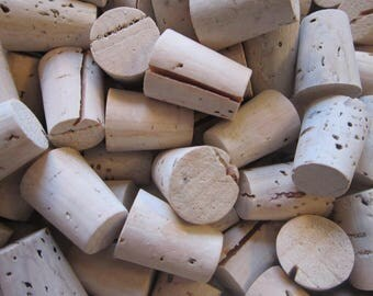 50 tapered corks - size 3 corks, natural cork stoppers, small corks - as is